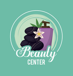 Colorful logo of beauty center with volcanic vector