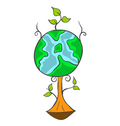 Earth day cartoon tree world vector