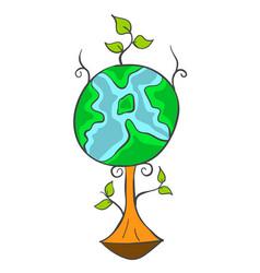 Earth day cartoon tree world vector