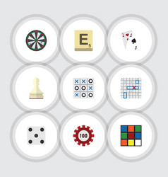 Flat icon play set of mahjong sea fight poker vector