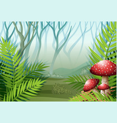 Forest scene with fog on the grass vector
