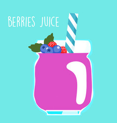 fresh berries juice in glass vector image