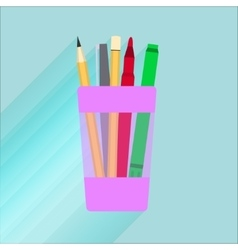 glass for pencils with a red marker vector image vector image
