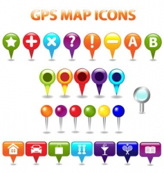 gps map icons vector image vector image