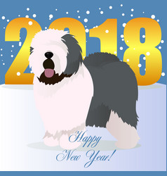 Happy new year card with old english sheepdog vector