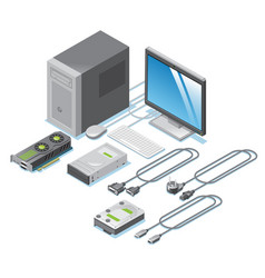 Isometric computer parts collection vector