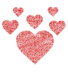 Lovely hearts fabric textured icon vector
