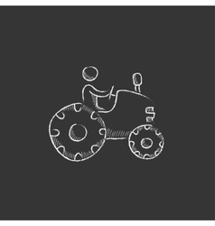 Man driving tractor drawn in chalk icon vector