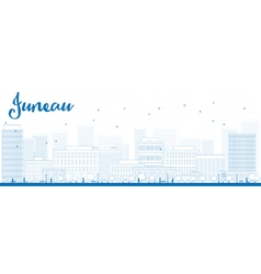Outline juneau alaska skyline vector