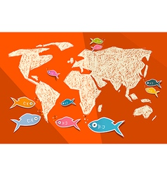 Paper World Map with Fish on Red Background vector image vector image