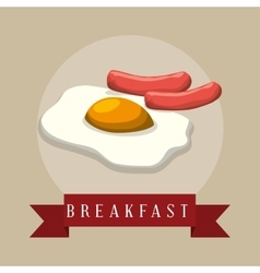 Poster breakfast fried eyes sausages ribbon vector