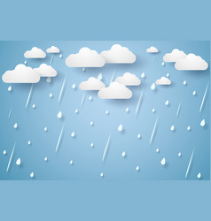 Rain background rainy season paper art style vector