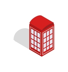 Red telephone booth icon isometric 3d style vector