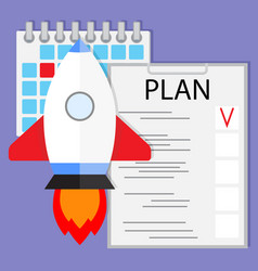 Schedule startup launch plan vector
