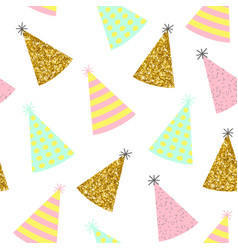 seamless pattern caps for a birthday on a white vector image