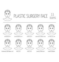 Set of line plastic surgery face icons Flat vector image vector image