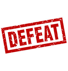 Square grunge red defeat stamp vector
