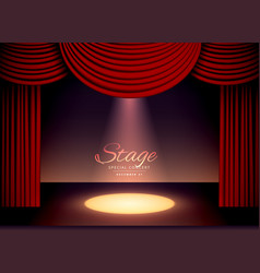 theater scence with red curtains and falling spot vector image