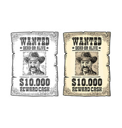 Wanted poster with man in hat vintage engraving vector