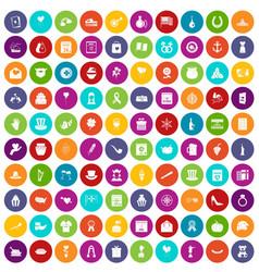 100 calendar icons set color vector