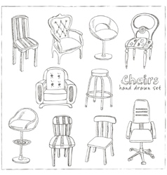 Doodle set of chairs vector