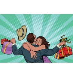 African american couple happiness from gifts and vector