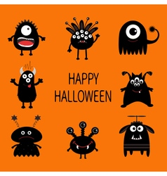 Happy halloween card black monster set cute vector