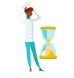 worried chef cook looking at hourglass vector image