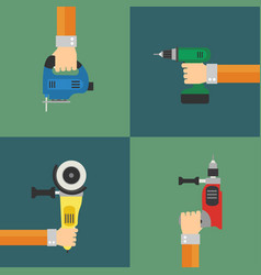 power tools set flat design style vector image