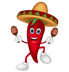 Happy chili pepper cartoon dancing with maracas vector