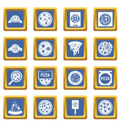 pizza icons set blue vector image