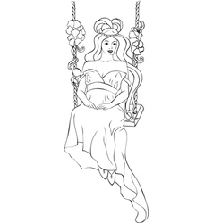 Beautiful girl on swing in art nouveau style vector image