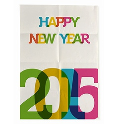 Happy new year 2015 folded paper poster vector