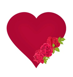 Red heart with roses valentines day mothers day vector