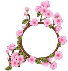 Background with sakura with frame vector