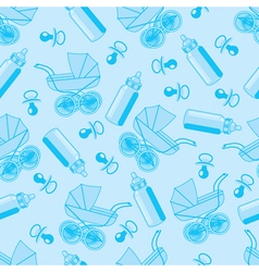 Pattern from pacifier pram and baby bottle vector