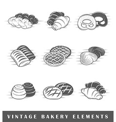 Retro bakery elements vector