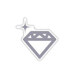 Paper sticker on white background diamond vector