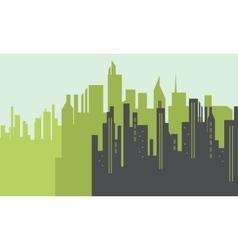 Silhouette of big city scenery vector