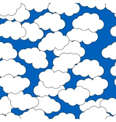 Cartoon clouds on blue background for design vector image
