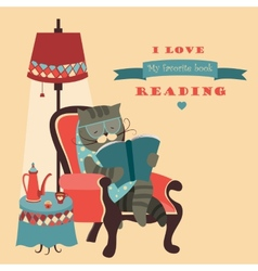 Cat reading book sitting in a chair vector