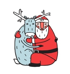 Character Santa Claus Hug with Deer vector image