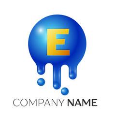 E letter splash logo blue dots and bubbles letter vector