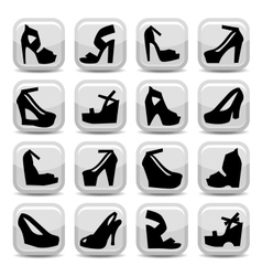 fashion shoes icons vector image vector image