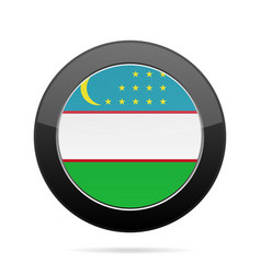 Flag of uzbekistan shiny black round button vector