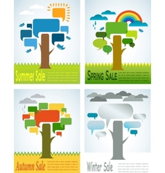 four seasons sale with four speech trees vector image