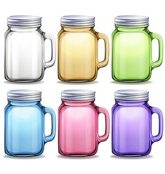 Glass jars in six different colors vector image