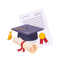graduation hat and diploma set of school and vector image
