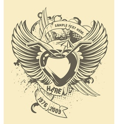 grunge t-shirt design with heart vector image