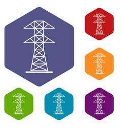 High voltage tower icons set hexagon vector